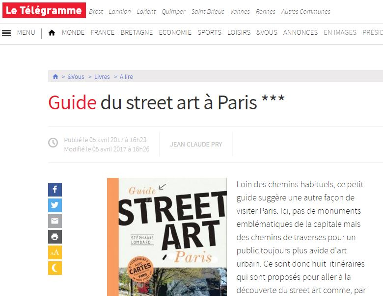 Le Telegramme Guide du street art a paris